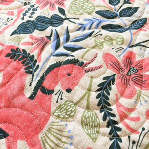 Canvas Wholecloth Quilt - Rifle Paper Co. - Folk Horse in Coral