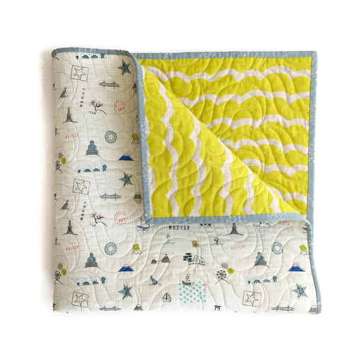 Canvas Wholecloth Quilt - Kujira - Sightseeing in Citron