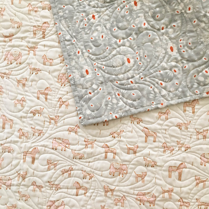 Wholecloth Quilt - Flower Shop in Grey