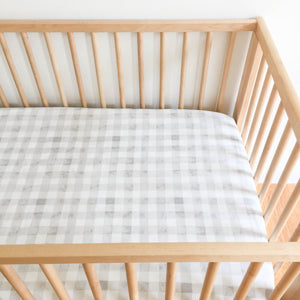 Crib Sheet - Sommer - Painted Gingham in Grey