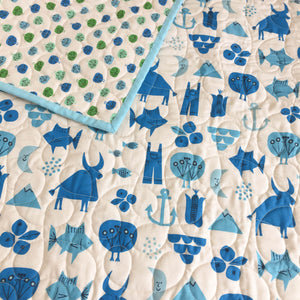 Wholecloth Quilt - Spectacle Adventure in Blue