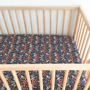 Crib Sheet - Rifle Paper Co. Les Fleurs - Tapestry in Black