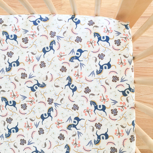 Crib Sheet - Rifle Paper Co. Les Fleurs - Carousel in Blush