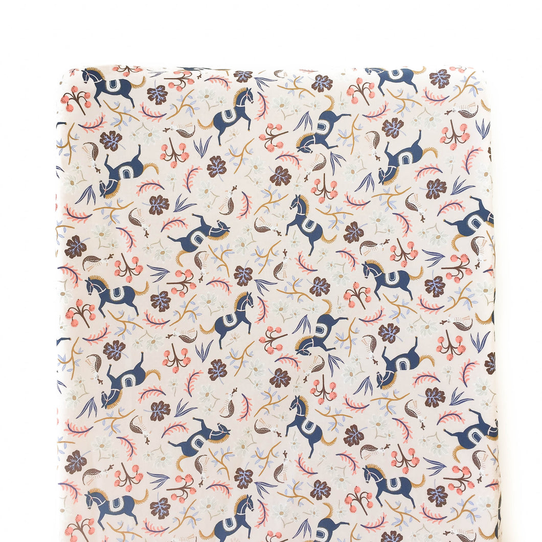 Changing Pad Cover - Rifle Paper Co. Les Fleurs - Carousel in Blush
