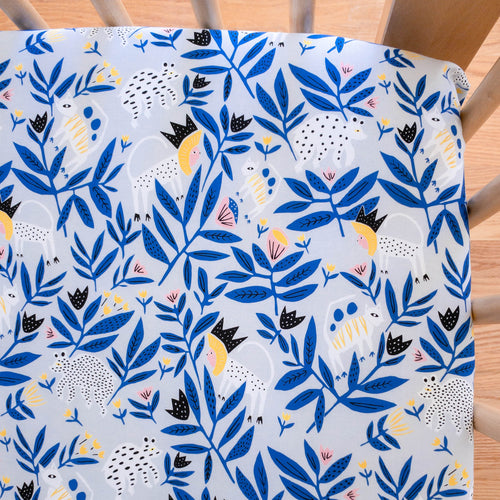 Organic Crib Sheet - No Place Like Home - King of Beasts in Blue