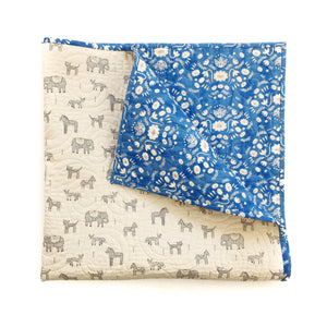 Wholecloth Quilt - Flower Shop in Blue