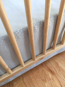 Crib Skirt - Sleep Tight - Stardust in Grey