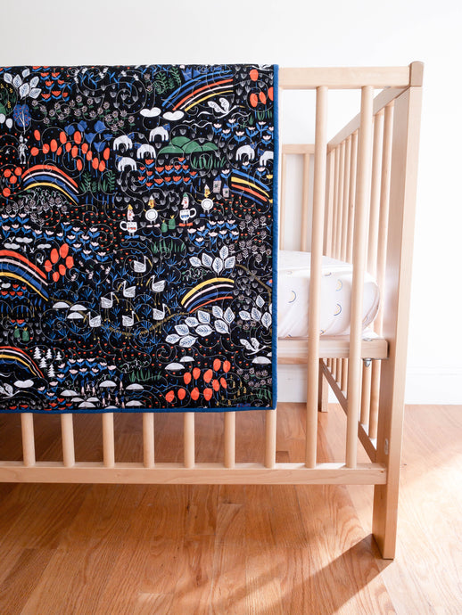Organic Wholecloth Quilt - No Place Like Home - Oz in Black