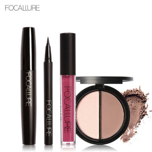 FOCALLURE New 4Pcs Easy Lip Makeup Black Eyeliner Pencil Matte Liquid Lipstick Face Bronzer Highlighter Palette Big Eyes Mascara
