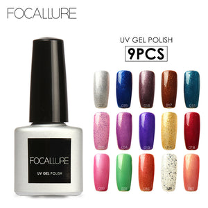 FOCALLURE 9Pcs/lot Newest Color Gel Polish Nail Set Long Lasting Led Sexy Color Series UV Nail Gel High Quality 7ML Salon Gel