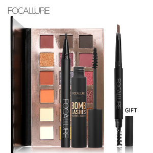 FOCALLURE Shimmer Matte 18 Colors Eye shadow Palette Black Color Mascara Liquid Eyeliner Pencil with Eyebrow