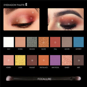 FOCALLURE Black Color Mascara Liquid Eyeliner Pencil 14 Colors Glitter Pigment Eye shadow with Eyebrow