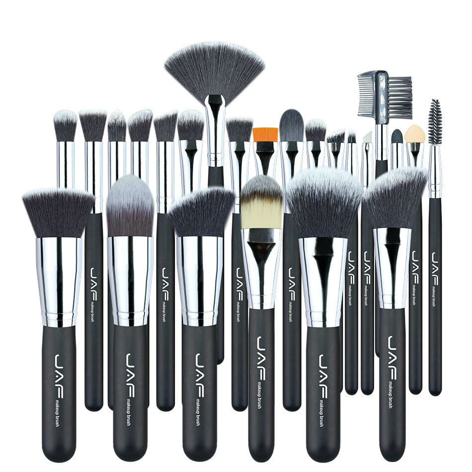 JAF Vegan 24 Pcs Professional Makeup Brushes Very Soft Synthetic Taklon Hair Suitable Gift Make-up Tool Kit J24SSY-OPP