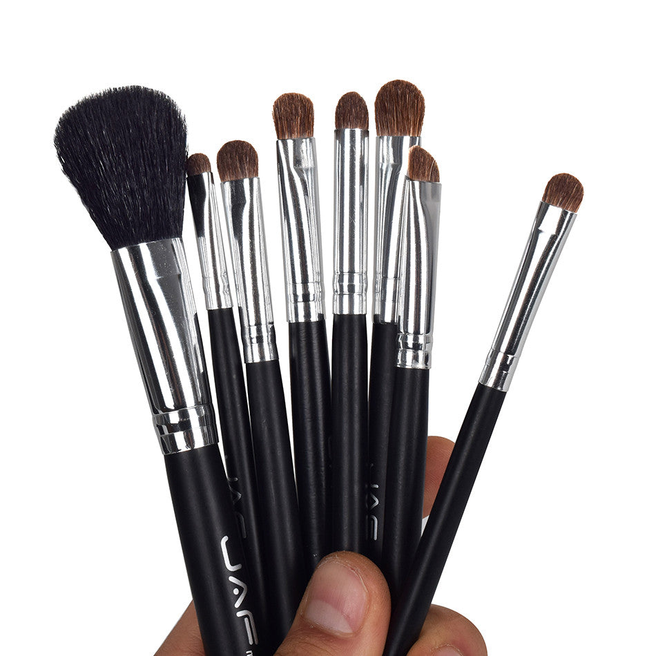 JAF Studio 8 pcs Make Up Brush Sets in Leather Case with String Makeup Brushes Kit Natural Animal Hair J0811YC-B