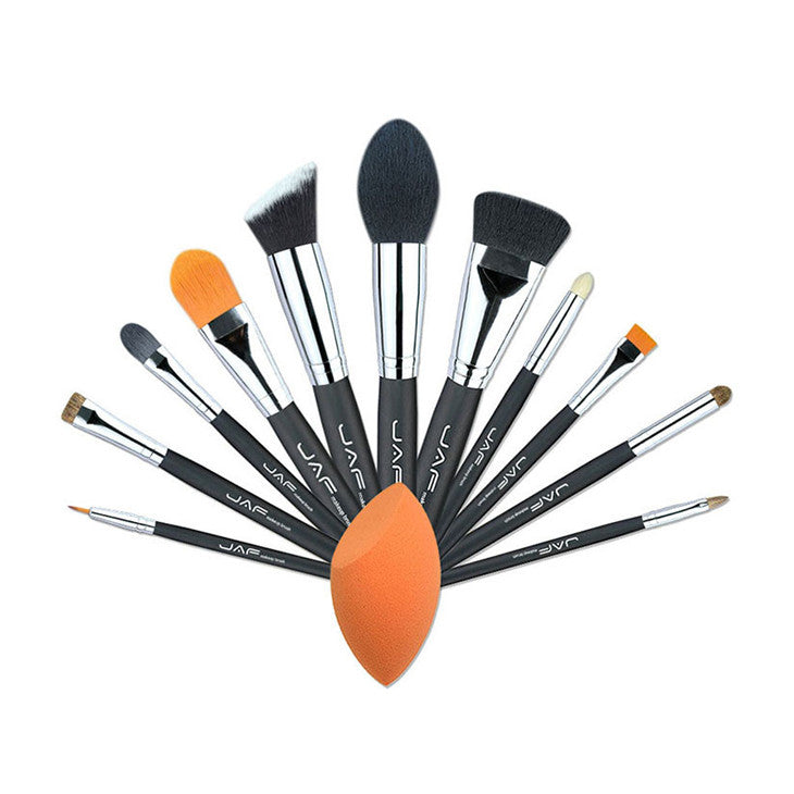 JAF Pro 12pcs Makeup Brushes Set Powder Foundation Eyeshadow Make Up Brushes Sponge Cosmetic Beauty Tools J1210MY-B