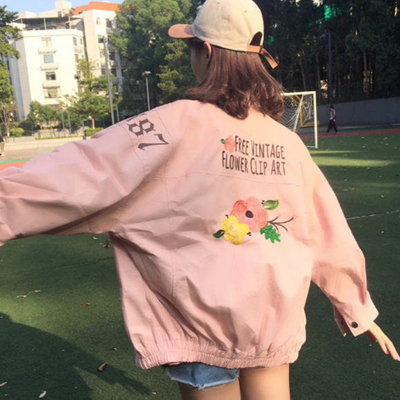 Vintage Flower Art Bomber Jacket