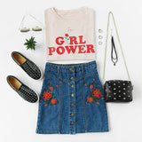 "Vintage Distressed ""Girl Power"" T Shirt"