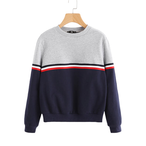 SHEIN Striped Woven Tape Detail Two Tone Sweatshirt Women Casual Pullovers Color Block Long Sleeve Sweatshirts
