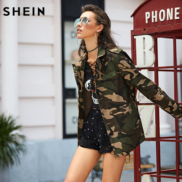 SHEIN Lightweight Camo Patch Button Down Jacket Color Block Single Breasted Woman 2017 New Fashion New Autumn Jacket