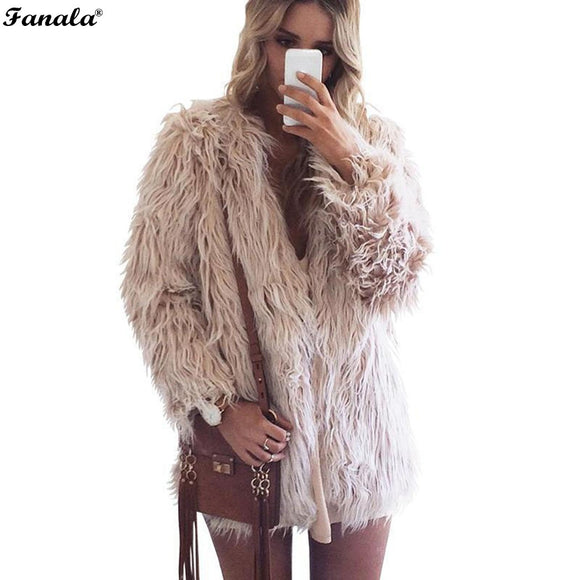 2018 Trendy Warm and Fuzzy Winter Faux Fur Coat S-XXXL