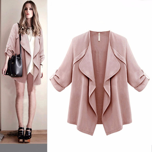 Women Autumn Spring Solid Long Sleeve Loose Plus Coat Cardigan