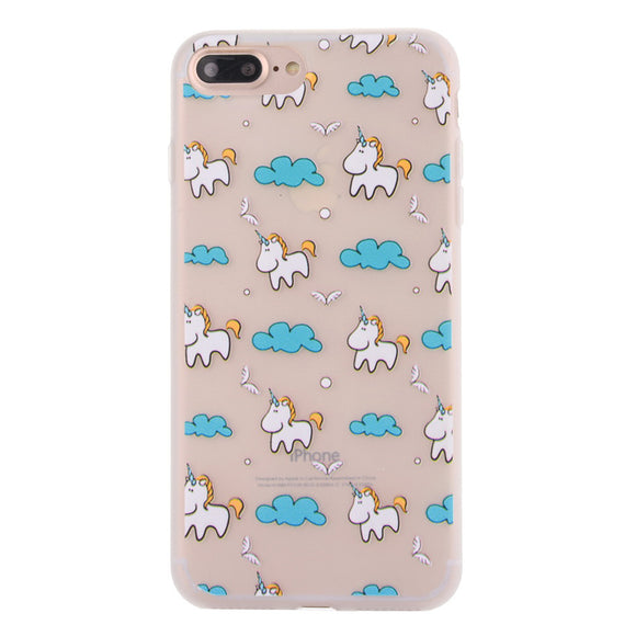 Fashion Cute Unicorn Matte Soft Ultrathin TPU Case Phone Case Shell for iPhone 7 Plus