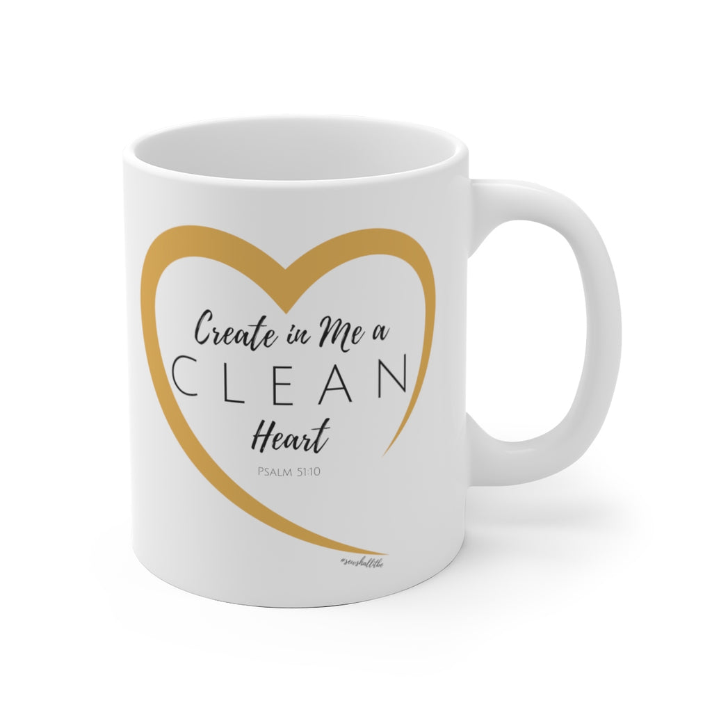 White Ceramic Mug: Psalm 51:10