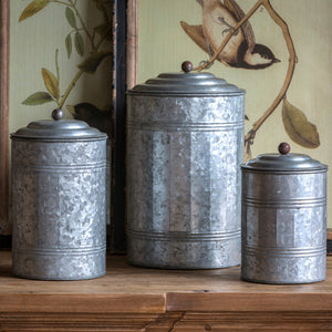 Tall Galvanized Canisters, Set of 3