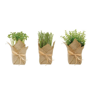 Burlap Wrapped Artificial Potted Herbs, Set of 3