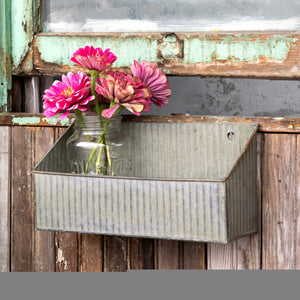Aged Metal Finish Boxed Shelf