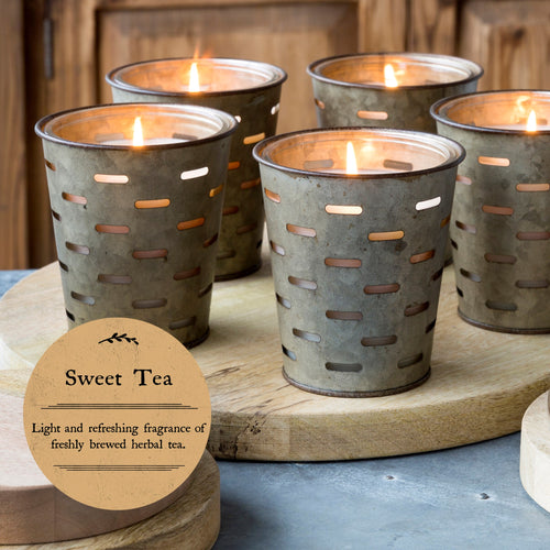 Metal Olive Bucket Scented Candles