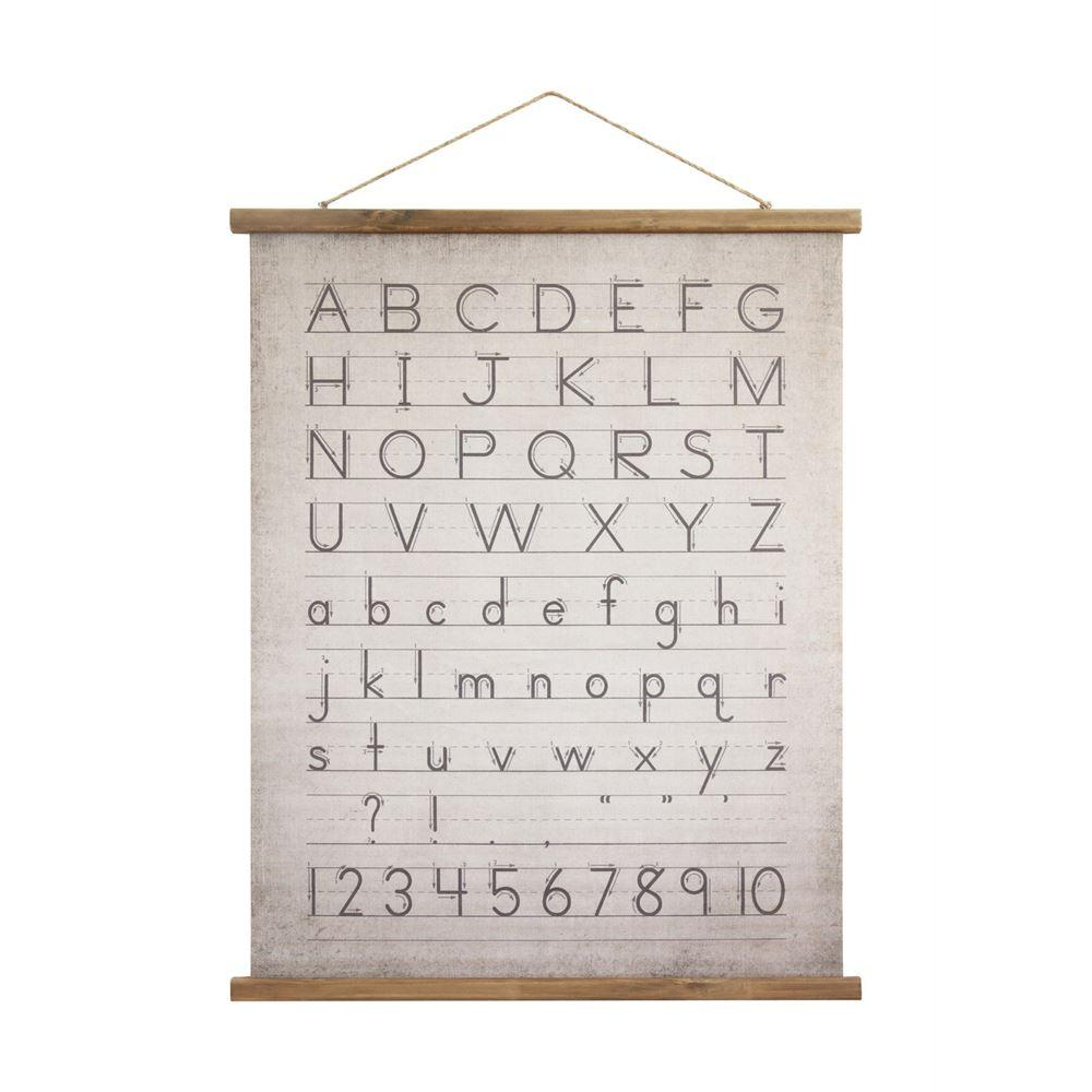 Alphabet and Numbers Wood Scroll with Jute Hanger