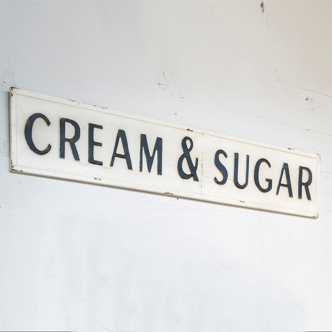 Embossed Metal Cream and Sugar Sign