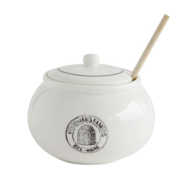 Stoneware Honey Pot with Wooden Dipper