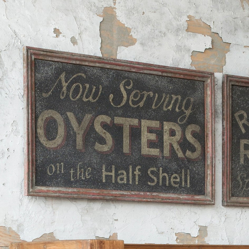 Serving Oysters Sign