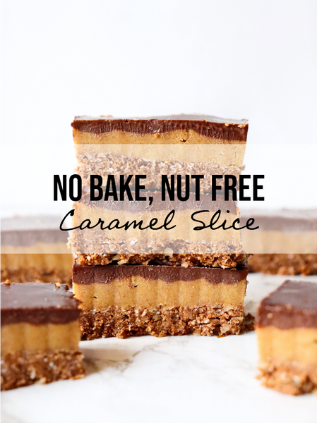 Healthy No-Bake, Nut-Free Salted Caramel Slice