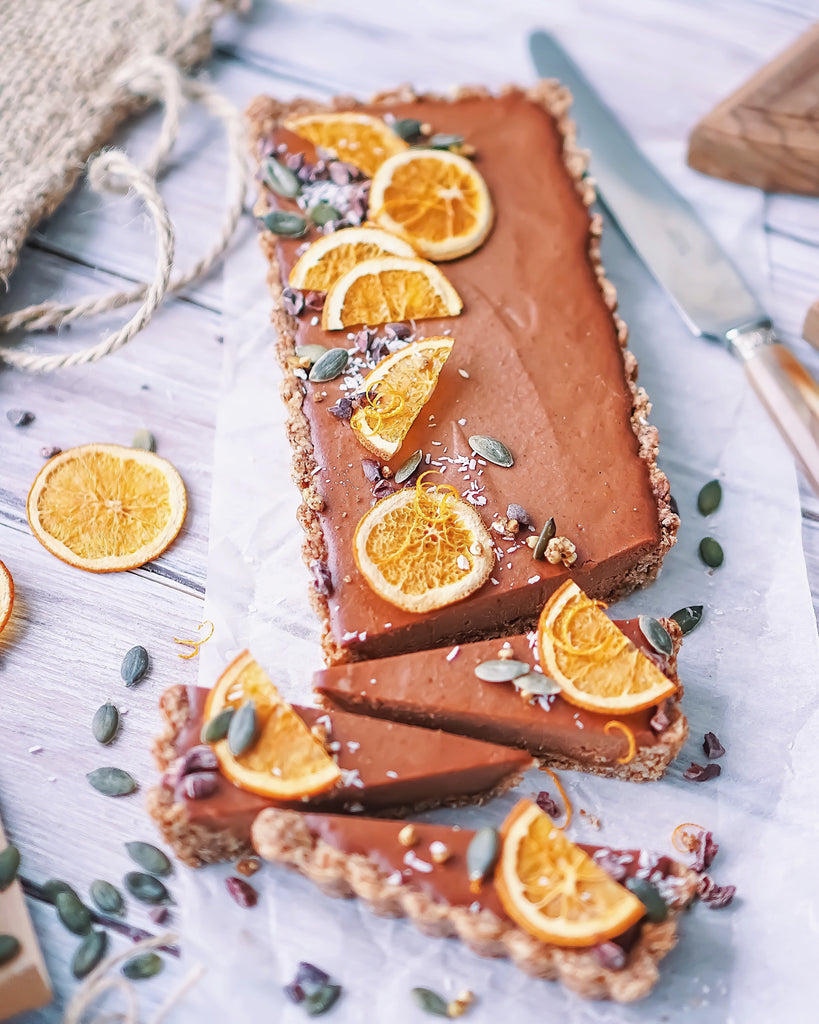 Raw Orange Chocolate Tart with Hazelnut-Oat Crust (Vegan, Gluten Free)