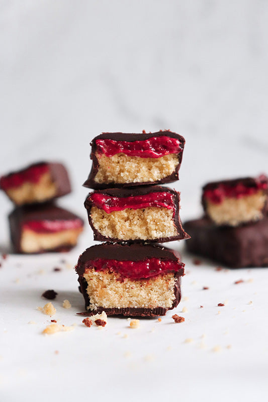 Vegan Coconut Raspberry Jam Chocolate Bars
