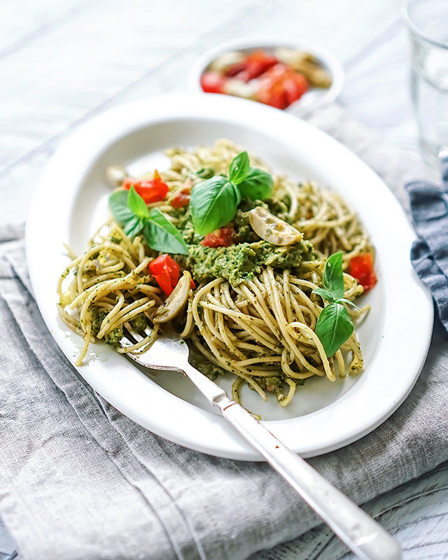 basil-and-green-olive-pesto-pasta-vegan