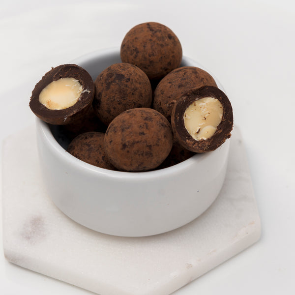 DARK CHOCOLATE DUSTED MACADAMIA - VEGAN