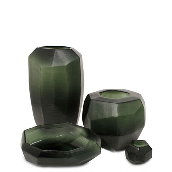 Cubistic Round Vase - Black Steel Grey