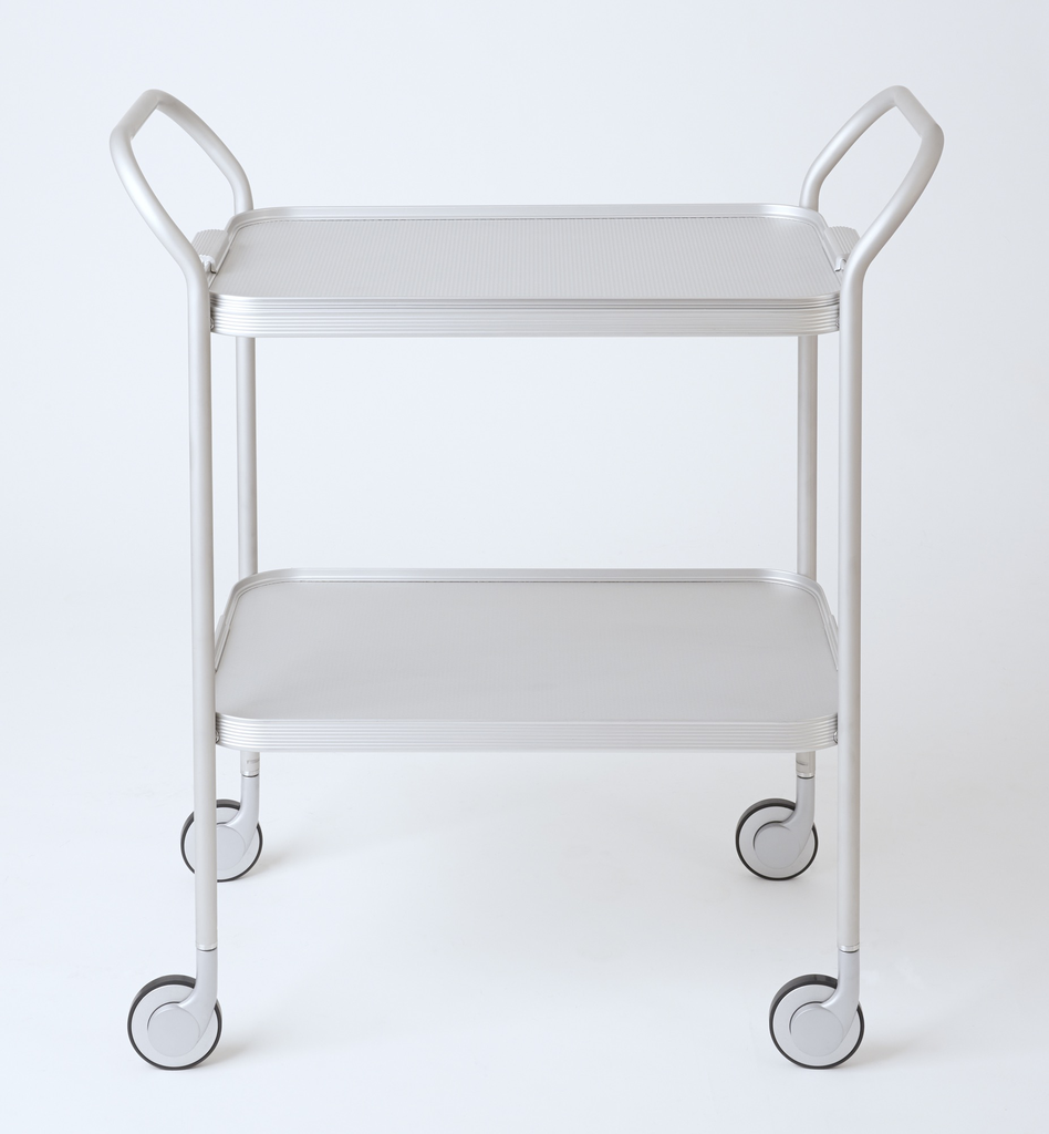 2 Tier Ribbed Trolley with Removable Tray, SILVER