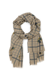 French 100% Wool Scarf - 369, Japan Blue