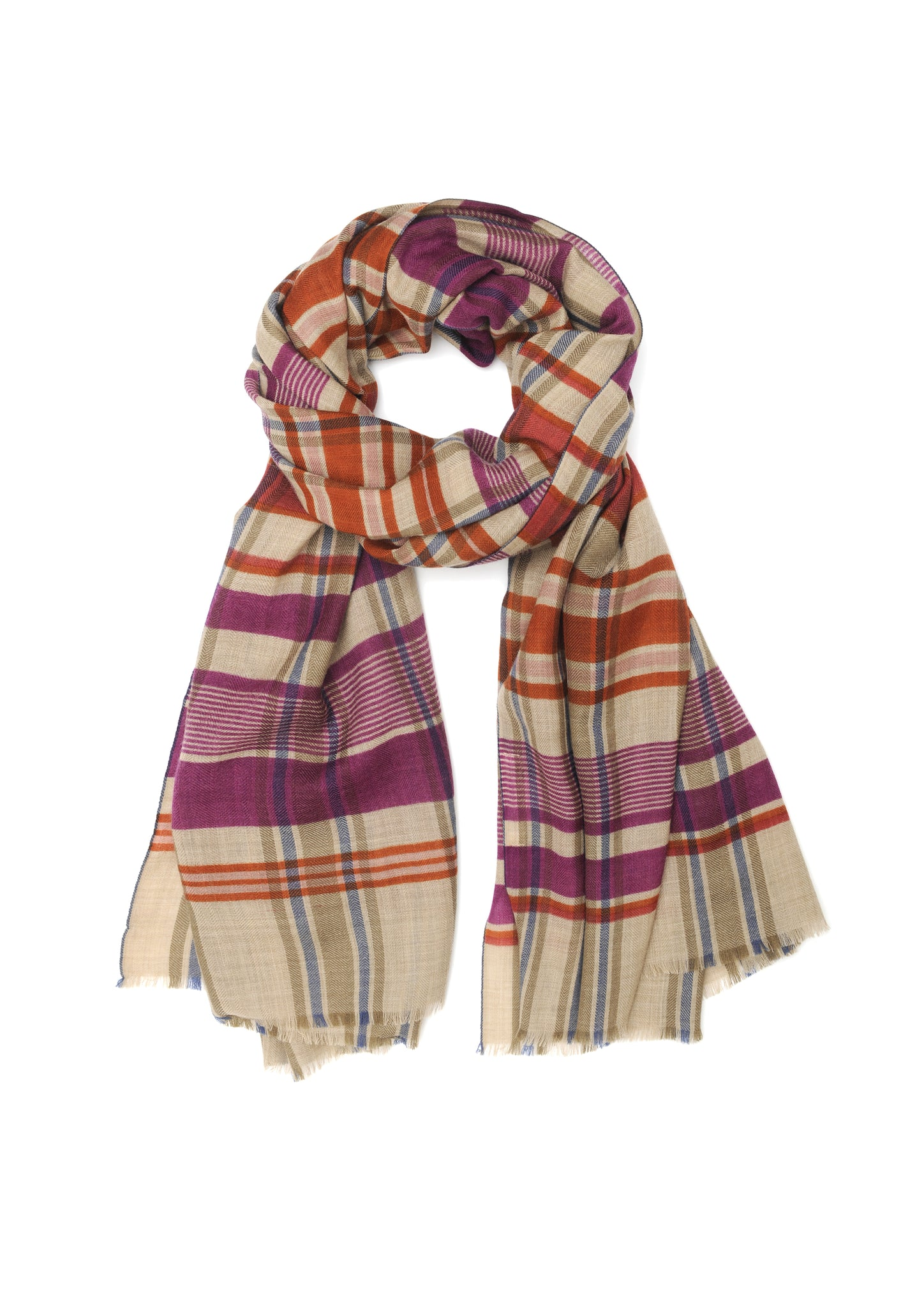 French 100% Wool Scarf - 376, Indian Pink