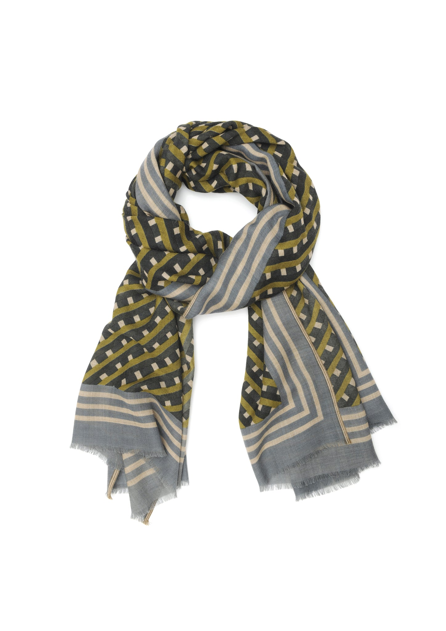 French 100% Wool Scarf - 378, Olive Green