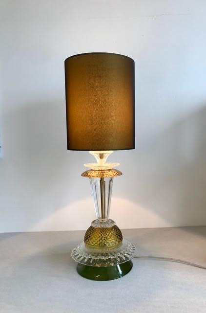 Glass Table Lamp, Amber & Green