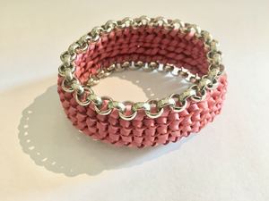 """Circuit"" Pink and Silver Bracelet"