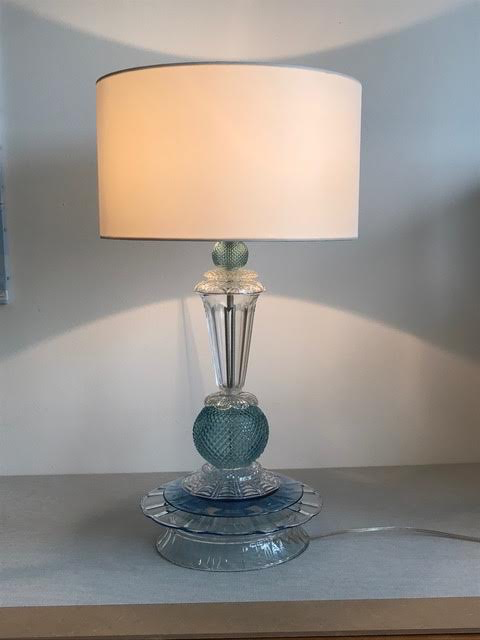 Glass Table Lamp, Blue & White