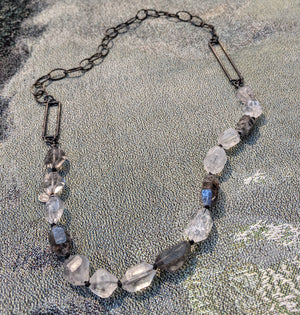 Quartz and silver necklace