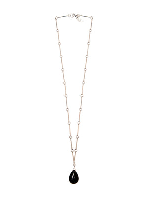 Black Agate Teardrop & Sterling Silver Chain Necklace